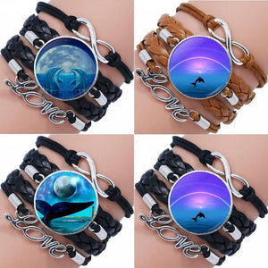 Moon And Dolphin Glass Leather Bracelet