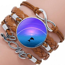 Load image into Gallery viewer, Moon And Dolphin Glass Leather Bracelet
