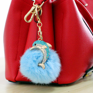 Fur Ball Dolphin Key Chain