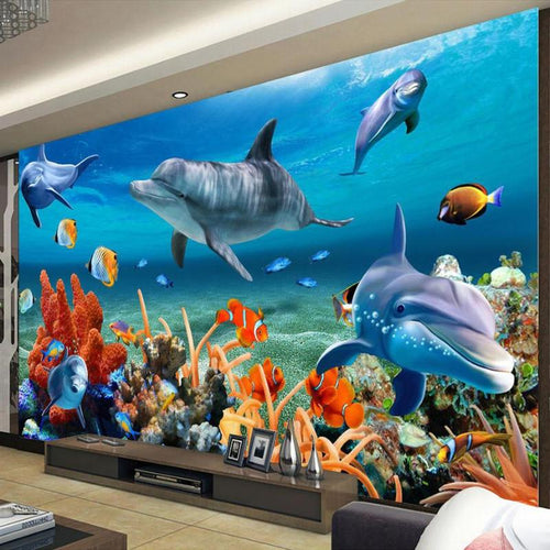 Dolphin, Fish And Coral Living Room Wallpaper