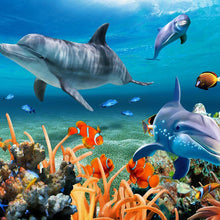Load image into Gallery viewer, Dolphin, Fish And Coral Living Room Wallpaper