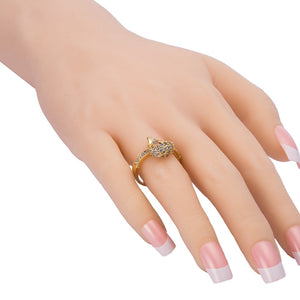Little Dolphin And Heart Finger Ring