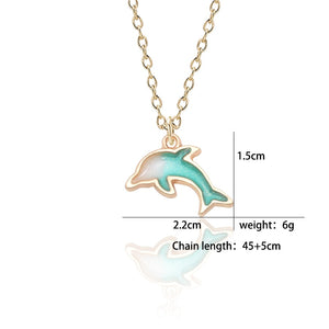 Gold Enamel Alloy Dolphin Necklace