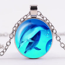 Load image into Gallery viewer, Dolphin Glass Dome Pendant Necklace