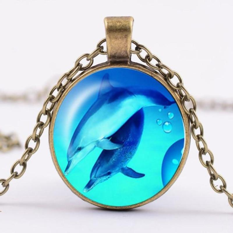Dolphin Glass Dome Pendant Necklace
