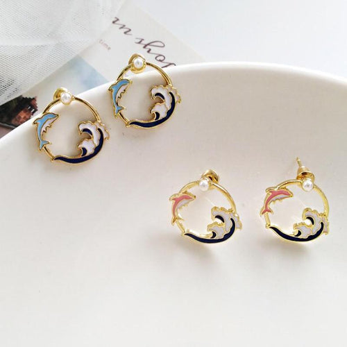Dolphin Pearl Alloy Earrings