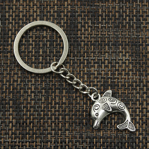 Antique Silver Plated Dolphin Key Chain