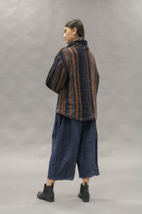 Kimberley Tonkin, Izzy cotton/linen striped pullover top with loose roll neck in charcoal, rust and indigo.