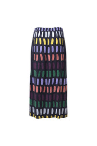 Elk Juna skirt charcoal with multi colour print, drawstring waist and side splits.