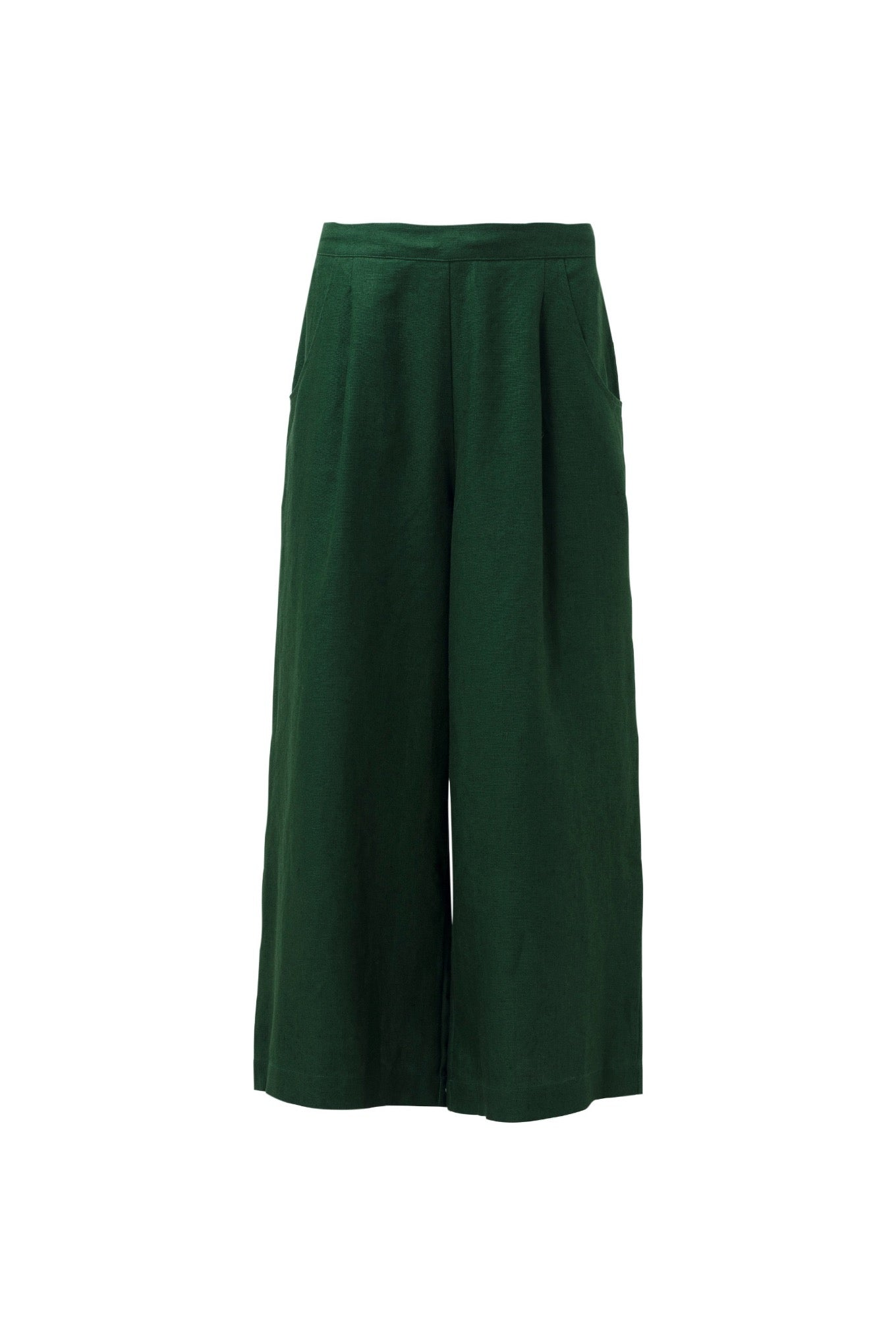 Elk Ilona pant in pine, linen wide leg pant with front pleats, elastic at back and side pockets.