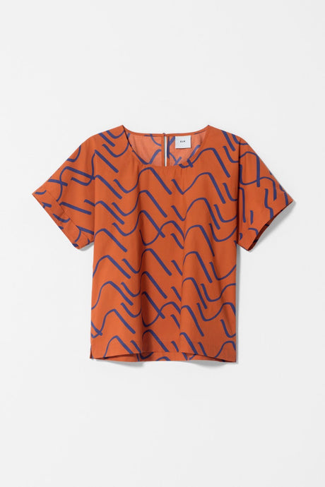Elk Nomad Summer 2020 collection, organic cotton Ollie top in copper orange and cobalt blue.