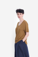 Load image into Gallery viewer, Elk Rannell tee t-shirt in dijon mustard, organic cotton and hemp, V-neck short sleeve.