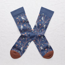 Load image into Gallery viewer, Bonne Maison fine cotton socks, made in France. Denim birds.Celadon Green and Storm Blue Birds on Denim Blue background with Sepia Brown toe.