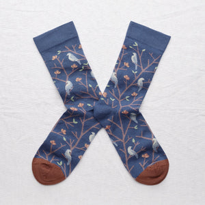 Bonne Maison fine cotton socks, made in France. Denim birds.Celadon Green and Storm Blue Birds on Denim Blue background with Sepia Brown toe.