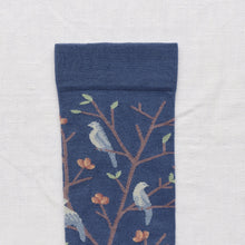 Load image into Gallery viewer, Bonne Maison fine cotton socks, made in France, Denim birds. Celadon Green and Storm Blue Birds on Denim Blue background with Sepia Brown toe.