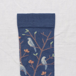 Bonne Maison fine cotton socks, made in France, Denim birds. Celadon Green and Storm Blue Birds on Denim Blue background with Sepia Brown toe.