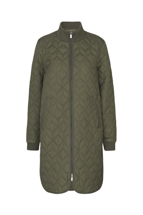 Ilse Jacobsen ART06 long quilted jacket coat showerproof in Army - khaki green.