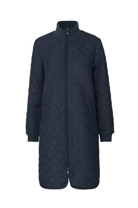 Ilse Jacobsen ART06 long quilted coat in dark indigo navy.