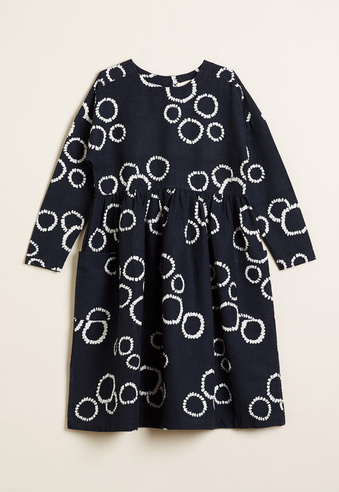 Nancybird Falls dress in black and white circle print.