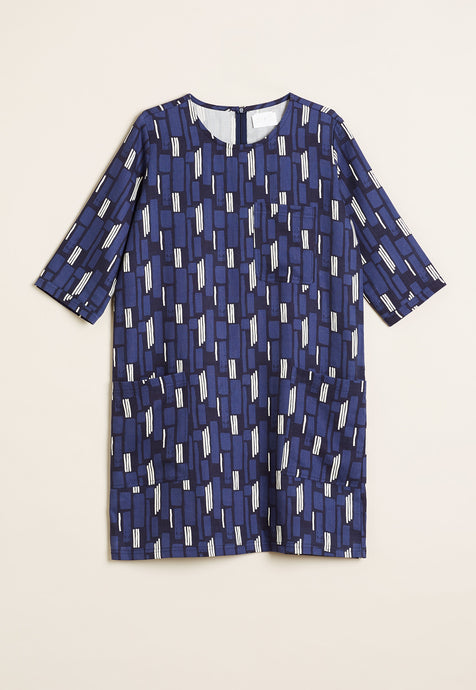 Nancybird Pilbara tunic dress in blue with black and white graphic print.