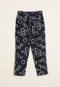 Nancybird Terrain pant in black and white circle print, 50% cotton and 50% linen.