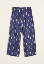 Load image into Gallery viewer, Nancybird Ridge pant, 7/8 cropped leg in blue with black and white graphic design.