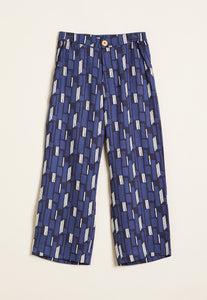 Nancybird Ridge pant, 7/8 cropped leg in blue with black and white graphic design.