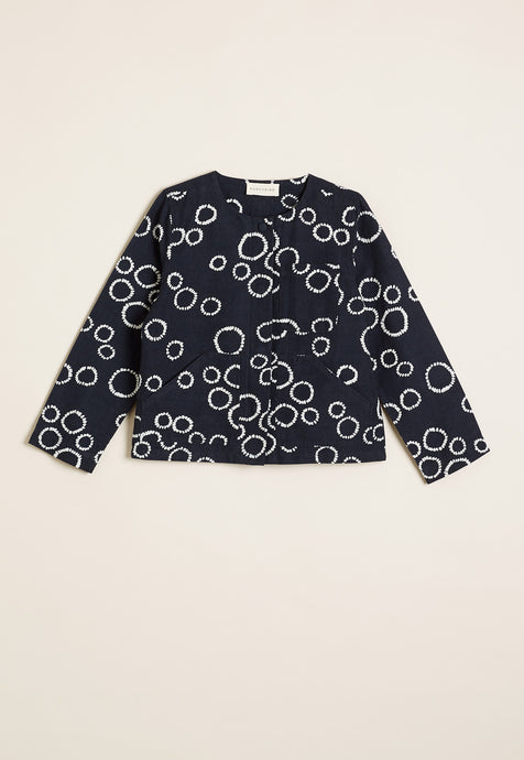 Nancbird cropped Pocket jacket in black and white circle print, 50% cotton 50% linen.