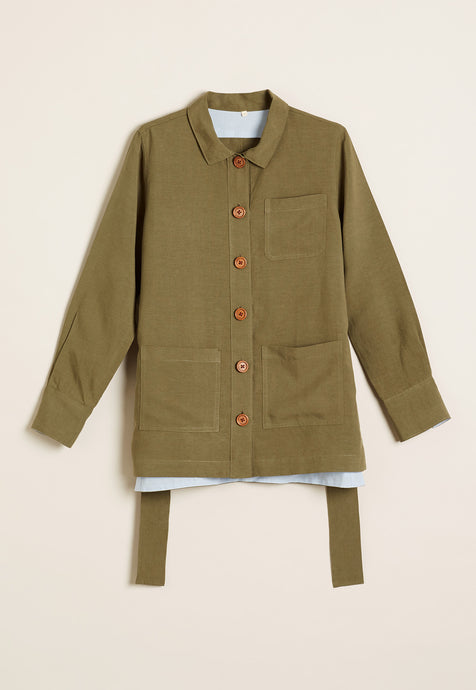 Nancybird Kingia khaki green shirt jacket