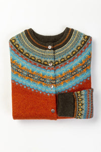 Eribé made in Scotland fair isle Alpine cardigan in Pheasant, deep orange tangerine with chocolate, aqua and gold highlights.