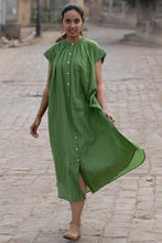 Load image into Gallery viewer, Artisav Mathilde dress in green khadi cotton, hand woven with a fine white and red stripe, button through cap sleeve summer dress. One size.