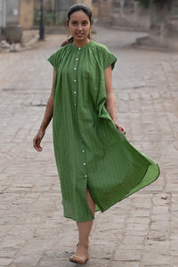 Artisav Mathilde dress in green khadi cotton, hand woven with a fine white and red stripe, button through cap sleeve summer dress. One size.