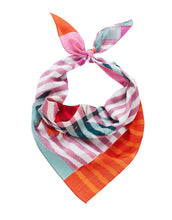 Load image into Gallery viewer, Inouitoosh film cotton Aout bandanna, florals climbing on stripes in pink, orange, red and teal.