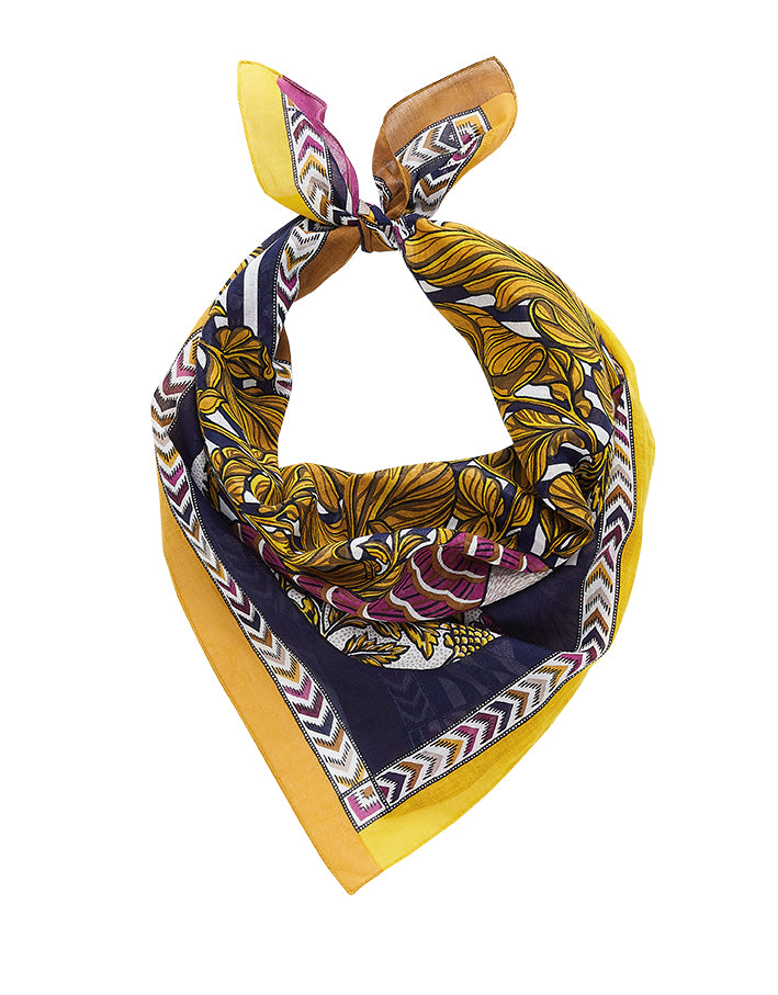 Inouitoosh French design fine cotton bandana in Thelma design, floral dog in navy, white, deep pink, mustard, stripes and floral.