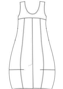 Kimberley Tonkin s2020 collection, Boffas sleeveless bubble dress, line drawing.