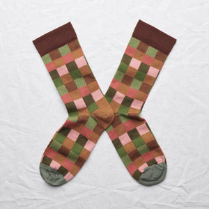 Bonne Maison fine cotton socks, made in France. Multico checks,Caramel brown, wilted red, peach pink, cactus green and moss green checks on chestnut brown background with cedar green toe.