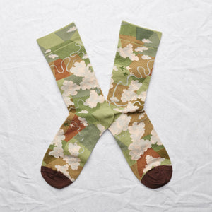 Bonne Maison fine cotton socks, made in France. Moss cloud, beautiful cloud design in shades of cream and caramel and green.