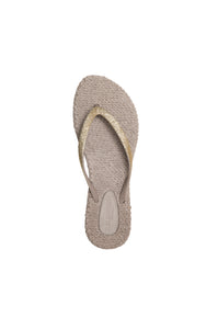 Ilse Jacobsen Cheerfuls flip flops rubber thongs with glitter straps in atmosphere, beige with soft gold glitter.