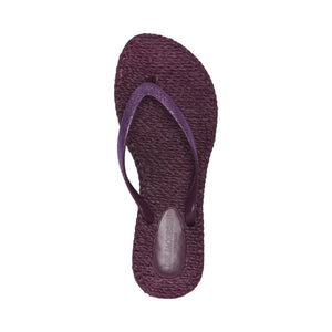 Ilse Jacobsen Cheerfuls flip flops rubber thongs with glitter straps in Rubino purple.