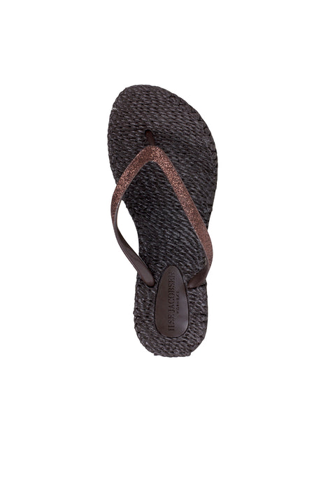 Ilse Jacobsen Cheerful glitter flip flops in prune, deep brown.