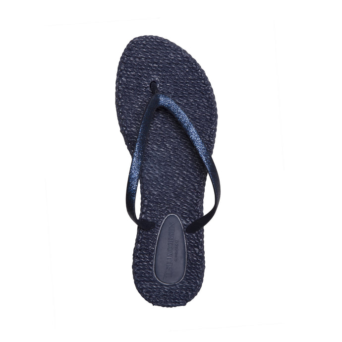 Ilse Jacobsen Cheerfuls flip flops rubber thongs with glitter straps in Navy blue.