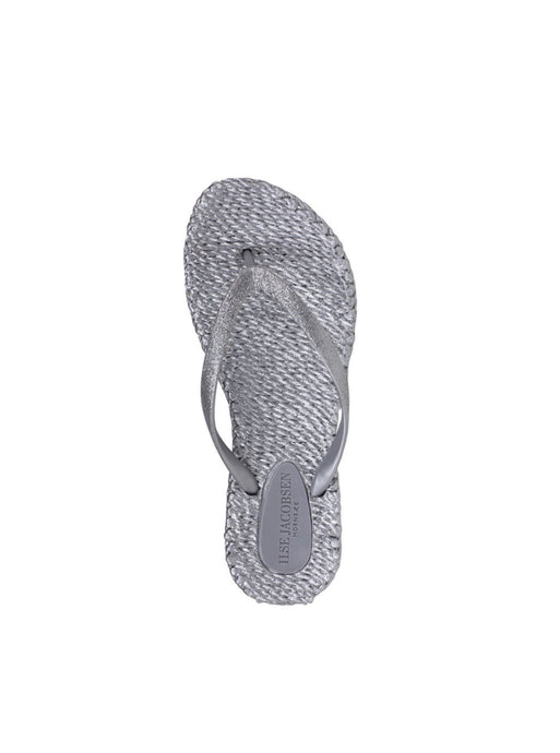 Ilse Jacobsen Cheerfuls flip flops rubber thongs with glitter straps in silver.