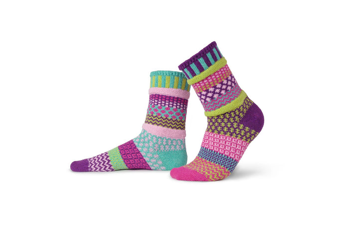Solmate recycled cotton socks made in the USA, colour way Dahlia, in light pink, magenta, lime green, purple, turquoise.