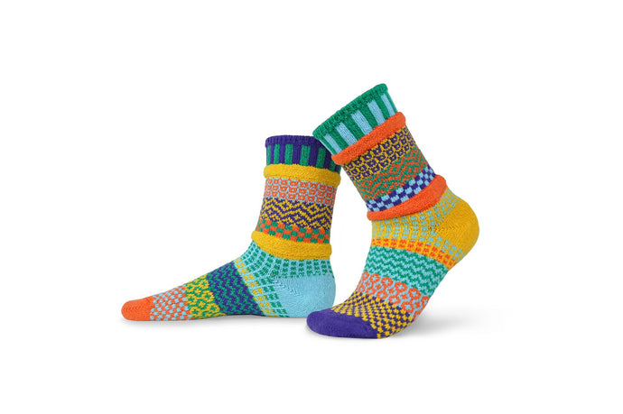 Solmate socks, made from recycled cotton in the USA, Forget  meant, in yellow, orange, aqua teal and royal blue.