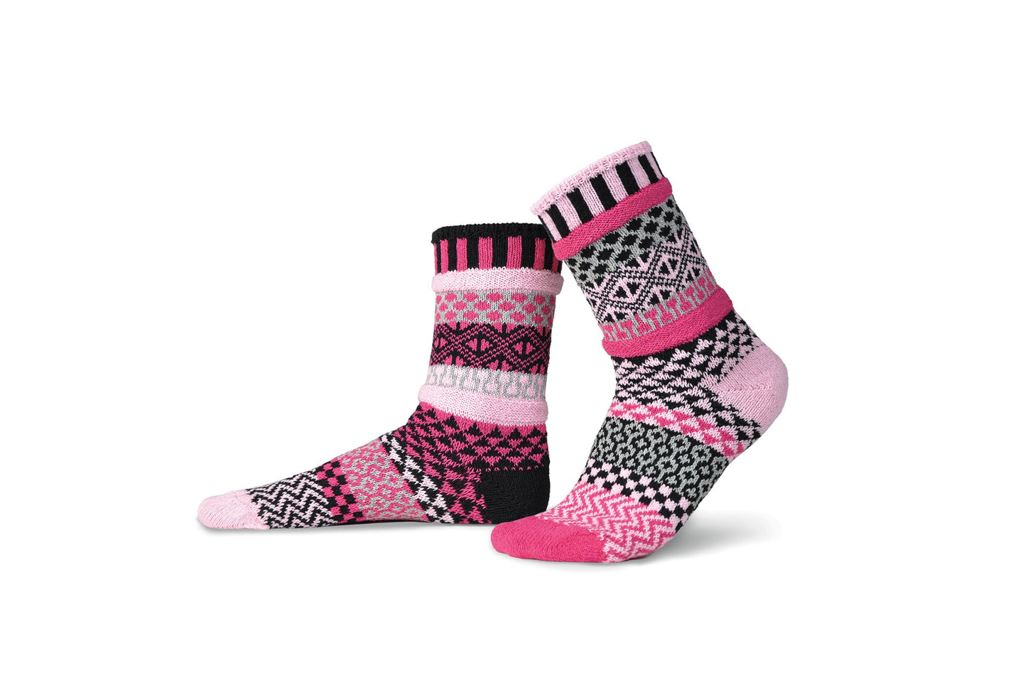 Solmate socks Venus in black, white, rose pink and pale pink, and light grey.