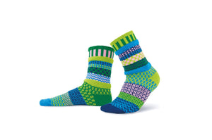 Solmate socks, recycled cotton made in the USA in Water Lily socks in kelly green, navy blue, pale pink, lime green, turquoise.