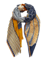 Load image into Gallery viewer, Inouitoosh pure wool Aquila scarf with eagle, in navy blue and mustard on a saffron yellow background.