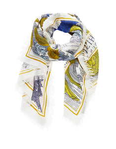 Inouitoosh pure wool Ex Libris scarf 70x190, blue and mustard yellow with large heart in gold.