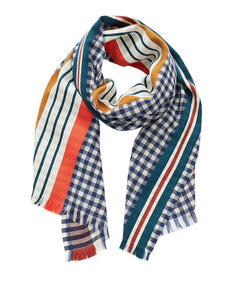 Inouitoosh wool scarf navy blue and white gingham with coral and mustard.