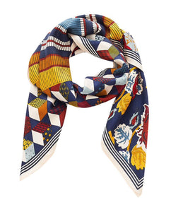 Inouitoosh silk modal scarf, Yumiko is a gorgeous design of tumbling blocks and retro floral print bisected by a bold stripe, in mustard, duck blue and red.